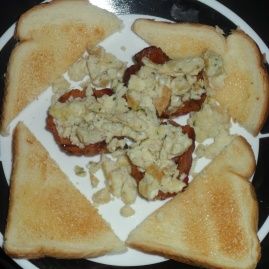 Bacon Bowls and Scrambled Eggs with Buttered Toast - Top View